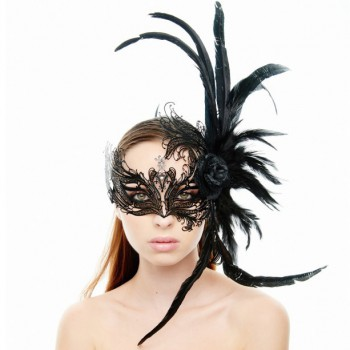 Kayso Laser Cut Masquerade Mask with Rose & Feather - Black