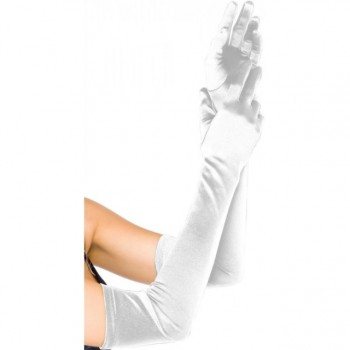 Opera Length Stretch Satin Gloves - White (O/S)