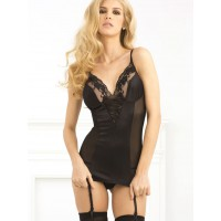 René Rofé Stretch Satin & Lace Garter Slip with G-String Set - Black (S/M)