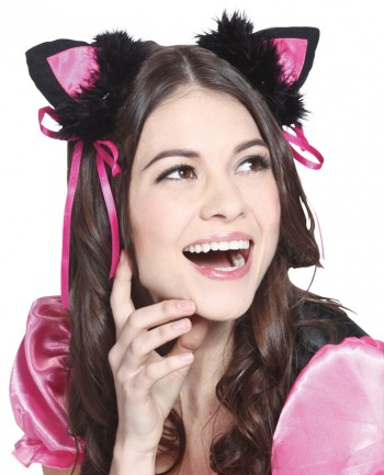 Cat Ear Hair Pin with Pink Ribbon