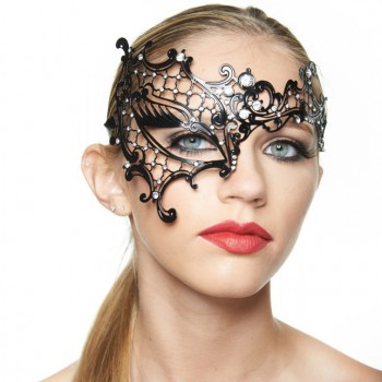 Kayso Laser Cut Phantom of the Opera Masquerade Half Mask with Clear Rhinestones - Black