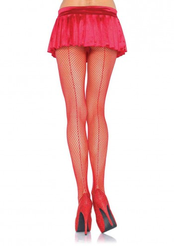 Leg Avenue Backseam Fishnet Pantyhose (O/S) - Red