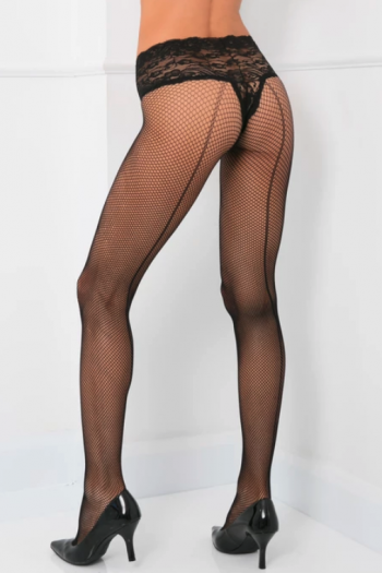 René Rofé Lace Top Fishnet Pantyhose (O/S)