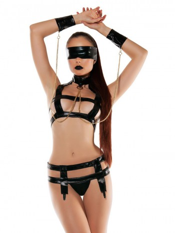 Starline Faux Leather Bondage Set - Black