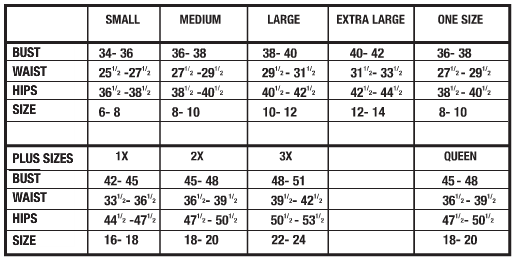 Ravewear Size Chart
